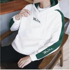 Áo khoác nam hoodie nỉ phối sọc tay đẹp 2018 white