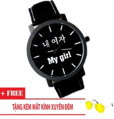 Đồng hồ nam giá rẻ My Boy My Girl (Dây Đen, Mặt Hình Tròn) + Tặng Kèm Mắt Kính Xuyên Đêm
