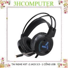 Tai nghe chơi game GNET H3T mic lọc âm có đèn led kết nối cổng jack 3.5 phù hợp điện thoại ,máy tính màu đen