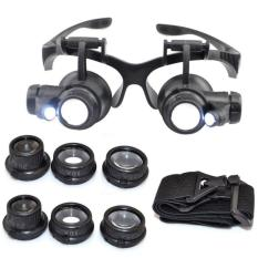 Kính lúp đeo mắt khoảng cách xem vật 5mm-15mm phóng to vật 10x 15x 20x 25x (Đen)