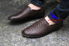 Giày lười nam da bò thật vân cá sấu GL-21 (đen + nâu)