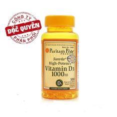 Clearan Stock – Big Sales (HSD:9/2019): Viên uống bổ sung Vitamin D tăng cường hệ miễn dịch, bổ phổi, phòng chống còi xương Puritan's Pride Sunvite High-Potency Vitamin D3 1000IU 100 viên