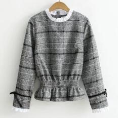 Áo len nữ tay dài sọc caro thời trang LTTA905 (Xám)