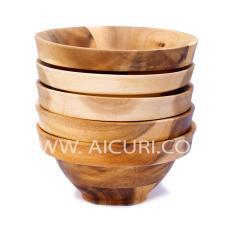 Bộ Bát (Chén) Cơm Bằng Gỗ Tràm Bộ 5 Cái Size: 12 Cm Màu Gỗ Tự Nhiên Made in Vietnam