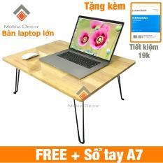 Bàn laptop xếp gọn (Lớn) TẶNG KÈM SỔ A7 – mặt bàn lớn 67x50cm – Gỗ cao su bền đẹp