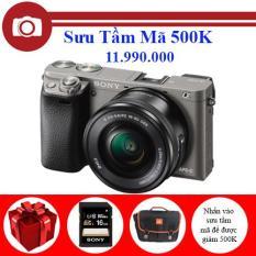 Sony Alpha A6000 (ILCE-6000L) 24.3MP với Lens kit 16 – 50mm E F3.5 – 5.6/PZ OSS (Xám) Chính Hãng – Tặng túi đựng máy, thẻ nhớ Sony 16GB.