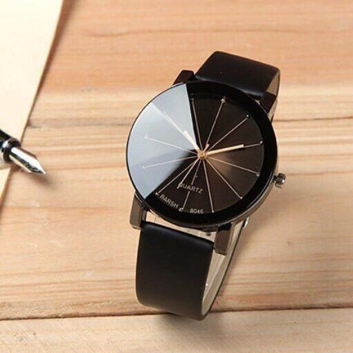 Đồng hồ nam dây da Thạch Anh Cá Tính Mặt Tròn (Dây Đen, Mặt Đen)