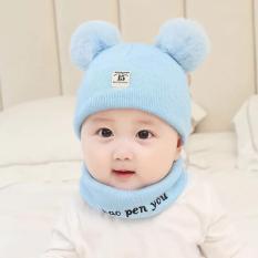 Bộ khăn + mũ len 2 lớp cho bé từ sơ sinh đến 3 tuổi