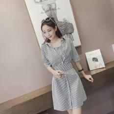 Váy Liền Sơ Mi Sọc Dáng Dài Vừa Giả Hai Chiếc Thời Trangdành Cho Nữ