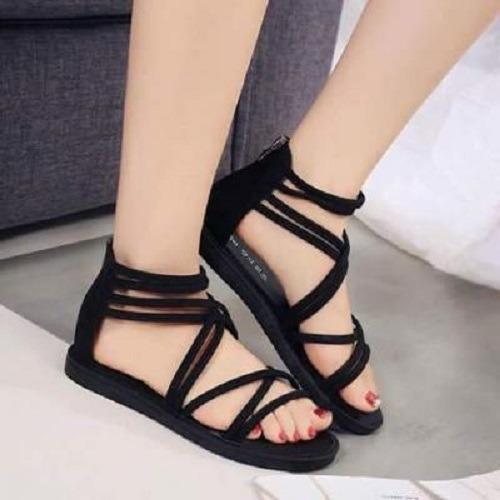 Giày sandal cột dây nhung-đen