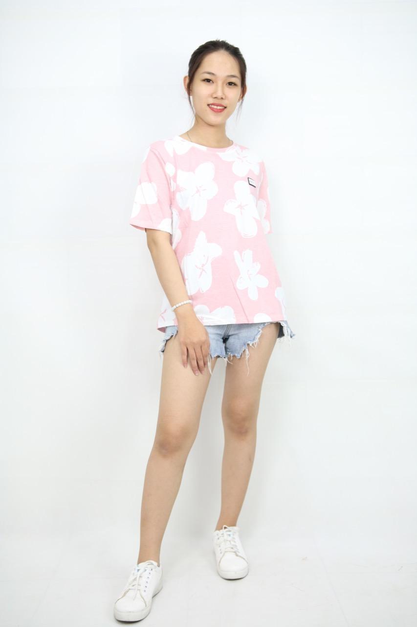 Áo thun in hoa trắng hồng girl-103