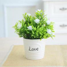 Chậu Cây Hoa Trà Giả – chậu sứ Love