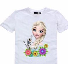 Áo thun nữ trẻ em in hình công chúa ELSA (Trắng)