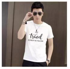 Áo thun nam trắng in chữ travel phong cách hàn quốc vải dày mịn ACGNAM12
