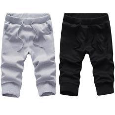 Combo 2 quần short thun nam bo ống thời trang phong cách hàn quốc ( đen/ xám )