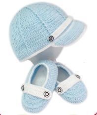 Giày len – Nón len bé trai – Màu xanh da trời 6m