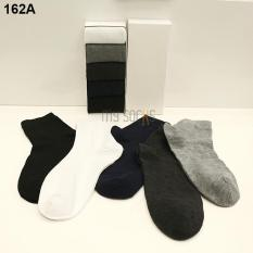 Phụ kiện giày nam vớ cotton trơn cao cổ khử mùi (5 đôi) Vớ Store – A162