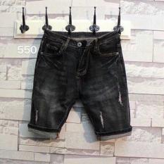 Quần Short Jeans Nam Rách Nhẹ Thời Trang K-550 ( Nâu Đen)