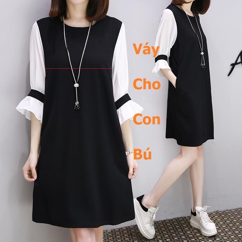 Váy bầu suông có khóa cho con bú màu đen tay voan trắng kèm dây chuyền