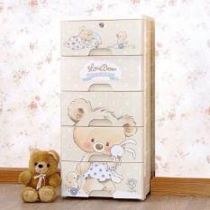 Tủ nhựa 5 ngăn hình gấu đáng yêu loại có khóa mẫu mới
