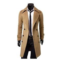NBS The High Quality Fashion Male Double-breasted woolen medium-long coat winter jacket XXXL(Khaki,Gray,black)