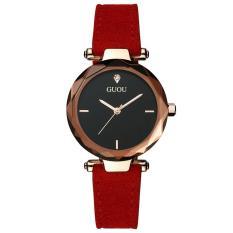 Đồng hồ nữ GUOU dây da lộn mặt 3D phong cách mới +tặng pin đồng hồ