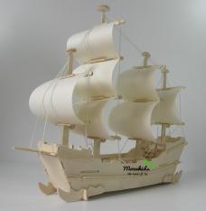 Đồ chơi lắp ráp gỗ 3D Mô hình Thuyền Thương gia