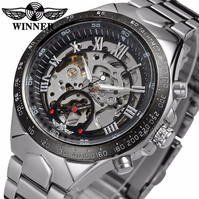 Đồng hồ nam Winner TM432 cơ lộ máy dây thép không gỉ (Đen)