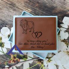 bóp ví nam da bò khắc theo yêu cầu sayo14 (nâu bò)