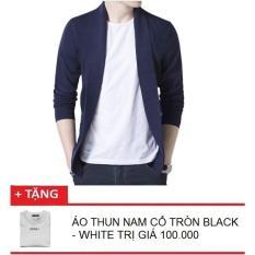 Áo Cardigan Len Nam Dáng Lửng Occo + Tặng Kèm 1 Áo Thun Nam Ngắn Tay Cổ Tròn Black White