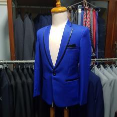 Bộ vest nam ôm body xanh coban kiểu viền đen (áo + quần)