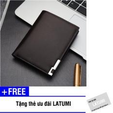 Bóp ví nam đứng da PU Latumi S2571 + Tặng kèm thẻ ưu đãi Latumi