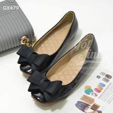 Giày búp bê đính nơ da mềm đen