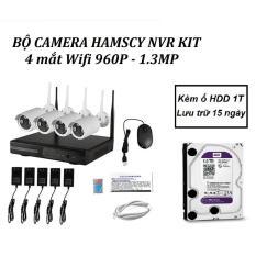 Bộ đầu ghi Hamscy NVR kit wifi 4 mắt camera wifi 1.3M 960P Kèm ổ HDD 1T