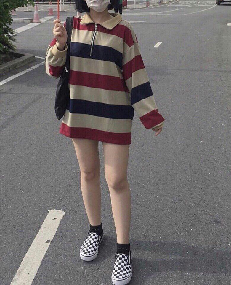 So sánh giá ÁO THUN CỔ TRỤ CẶP ĐÔI SỌC NGANG PHOM RỘNG TAY LỠ KIỂU DÁNG THỜI TRANG SIÊU ĐẸP Tại korea fashion2688