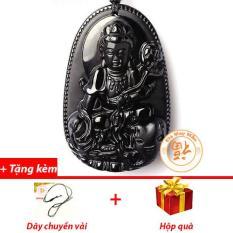 Mặt Dây Chuyền Phật Bản Mệnh Phổ Hiền Bồ Tát Đá Hắc Ngà Nhí