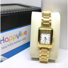 Đồng hồ nữ halei hl465 vuông mặt trắng chống nước, chống xước