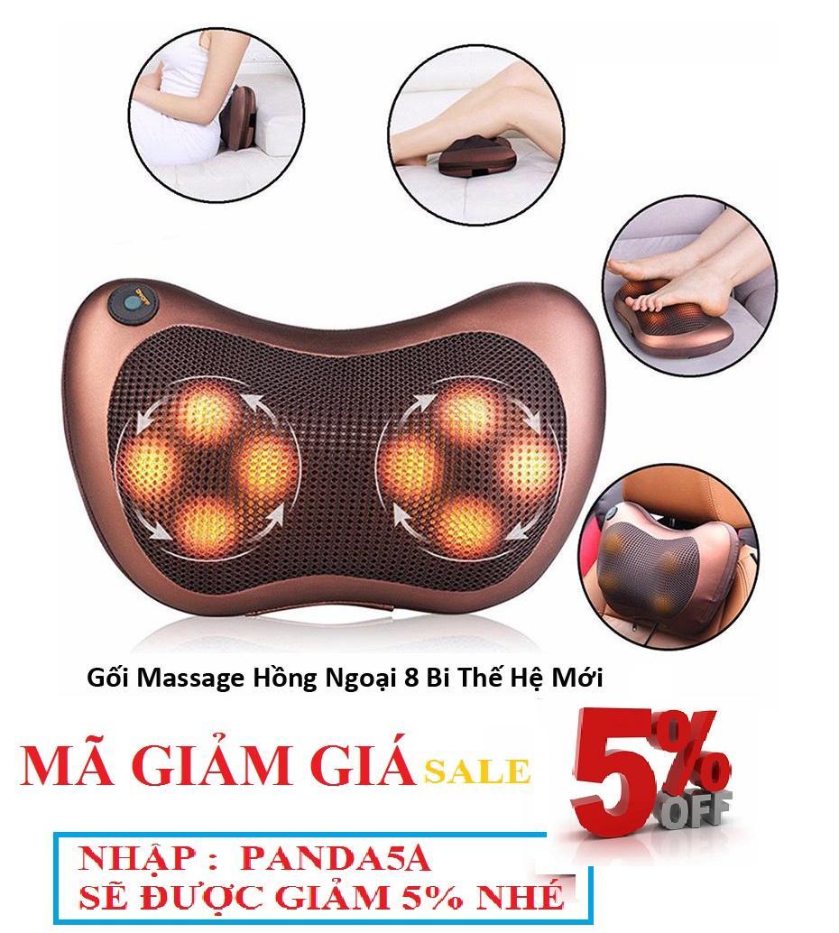Gối mát-xa hồng ngoại Massage 8 BI Pillow (Nâu)