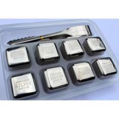 Đá INOX304 lạnh vĩnh cửu – Cooling Cubes 8 viên SSGP + Kèm Kẹp( Bạc )