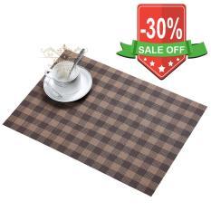 Bộ 4 khăn lót sọc caro lót bàn ăn, chén dĩa, ly tách (nâu)