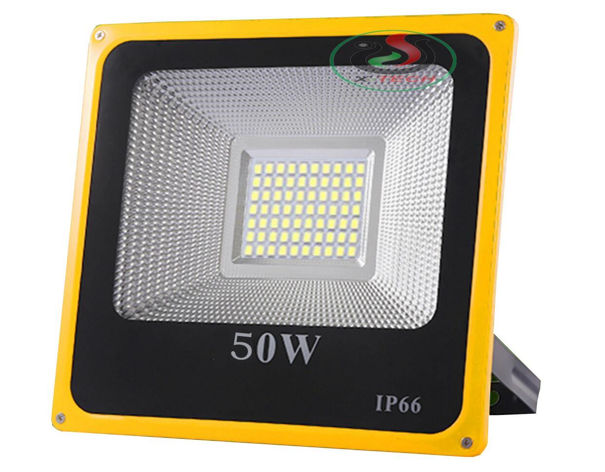 Đèn Led Pha 50W IP66 Ngoài Trời H-50 Chống Mưa Tuổi Thọ Cao 220V Viền Vàng (Ánh sáng trắng)