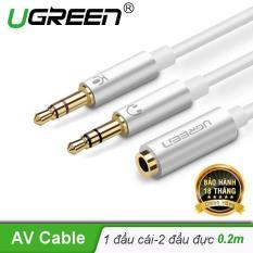 Dây Audio chuyển tai nghe 3.5mm sang 2 đầu Mic và Tai nghe đầu mạ vàng dài 20CM UGREEN AV140 10790 – Hãng phân phối chính thức