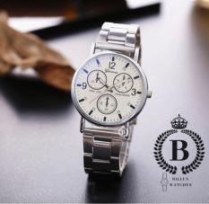 Đồng hồ Nam bản kỷ niệm Geneva [Billux] dây kim loại – 40mm (Đen – Trắng) [GNVMT005]
