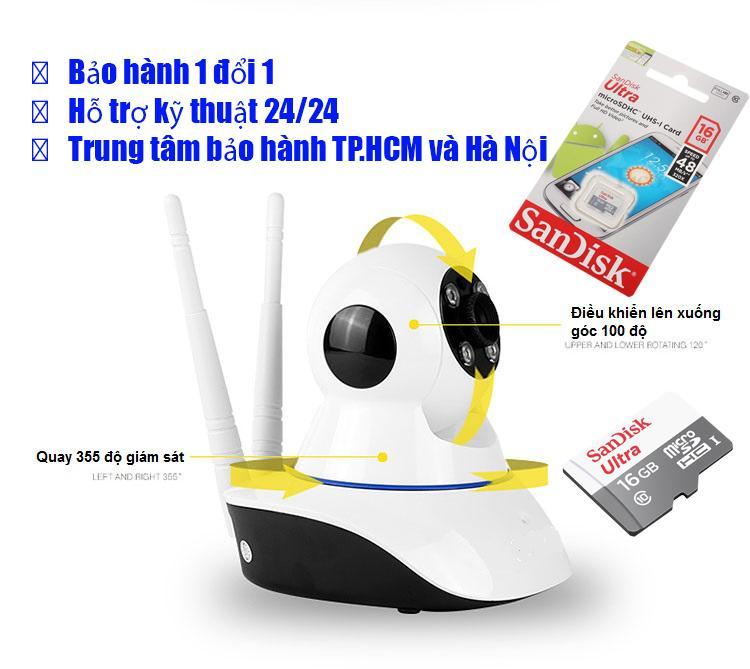 Camera Han Quoc, Camera Siêu Nét Giám Sát 24/24 HDVI1470, camera an ninh xiaomi – Camera Cao Cấp 1080P Giá Cực Sốc + Kèm thẻ nhớ 16G Sandisk Ultra Class 10 48Mb/s