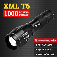Đèn pin siêu sáng A100 XML-T6 kèm hộp chống sốc cực sịn