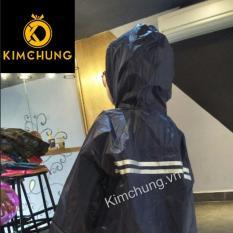 Áo mưa cho bé vải dù cao cấp chống nước, bé từ 7-10 tuổi (màu xanh đen)