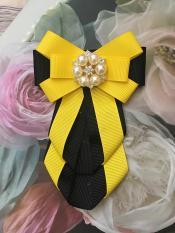 Hoa cài áo Handmade cao cấp, nơ cài áo đính đá, trâm ghim váy, tag cài áo ruy băng – rB99