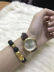 Đồng hồ nữ Halei 543 dây da thời thượng – TẶNG 1 vòng tỳ hưu phong thủy ( dây nâu mặt trắng)