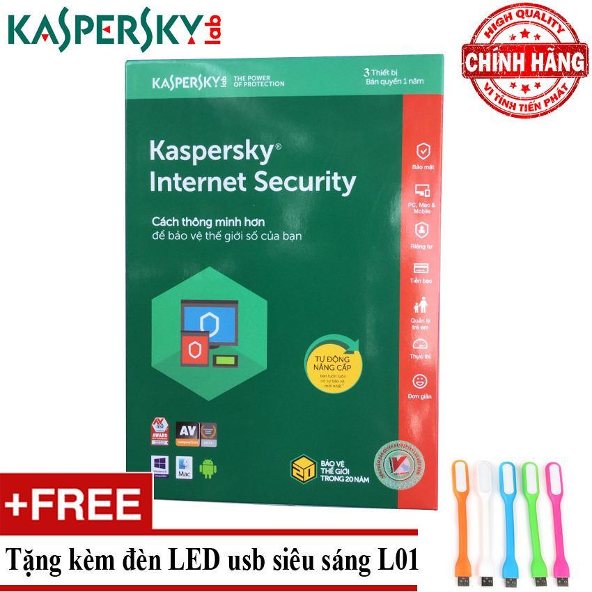 Nên mua Phần mềm diệt virus Kaspersky Internet Security 2018 3PC + Tặng đèn LED usb mã L01 ở Vi Tính – Laptop Tiến Phát