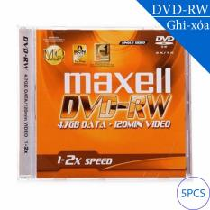 Đĩa trắng DVD-RW (ghi và xóa nhiều lần) 4.7GB 120min 1x-2x MAXELL (5 chiếc)